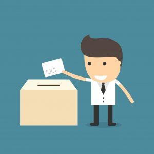 Utiliza ambas manos para votar